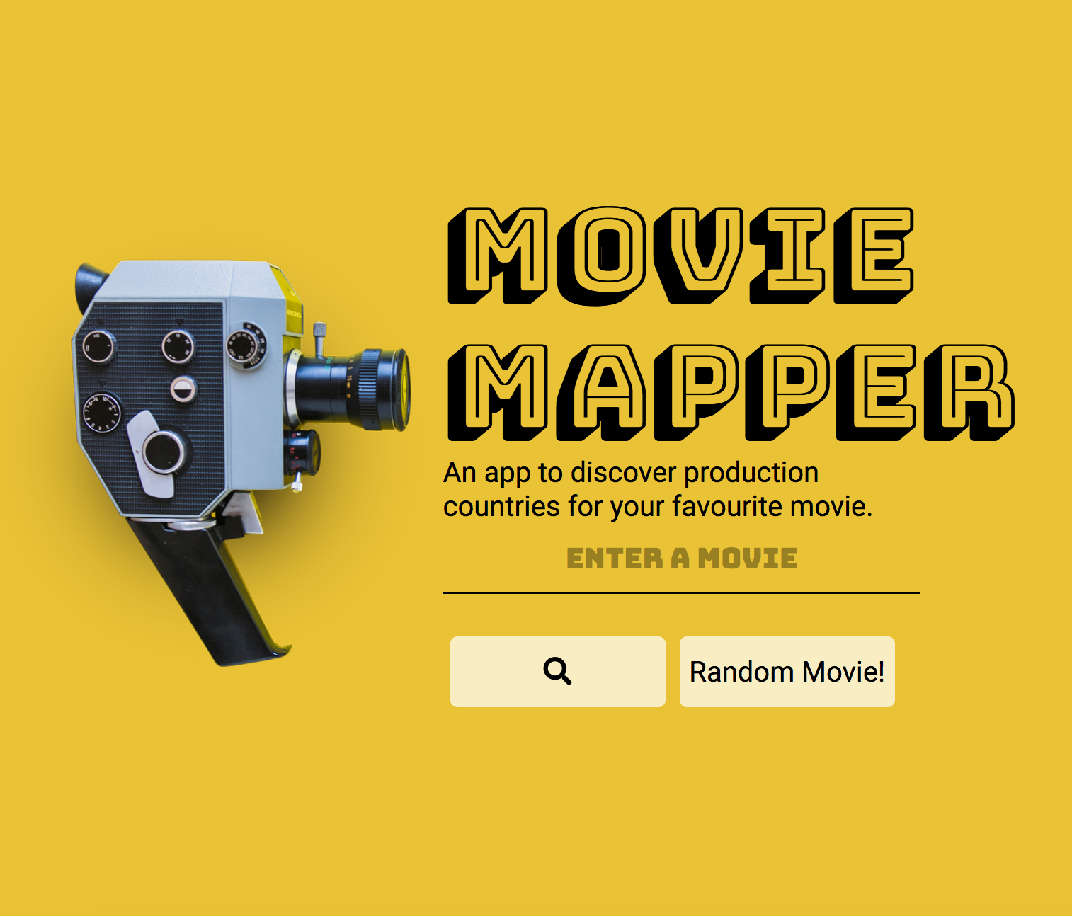 screenshot of movie mapper home page - vintage camera with a search bar for a movie