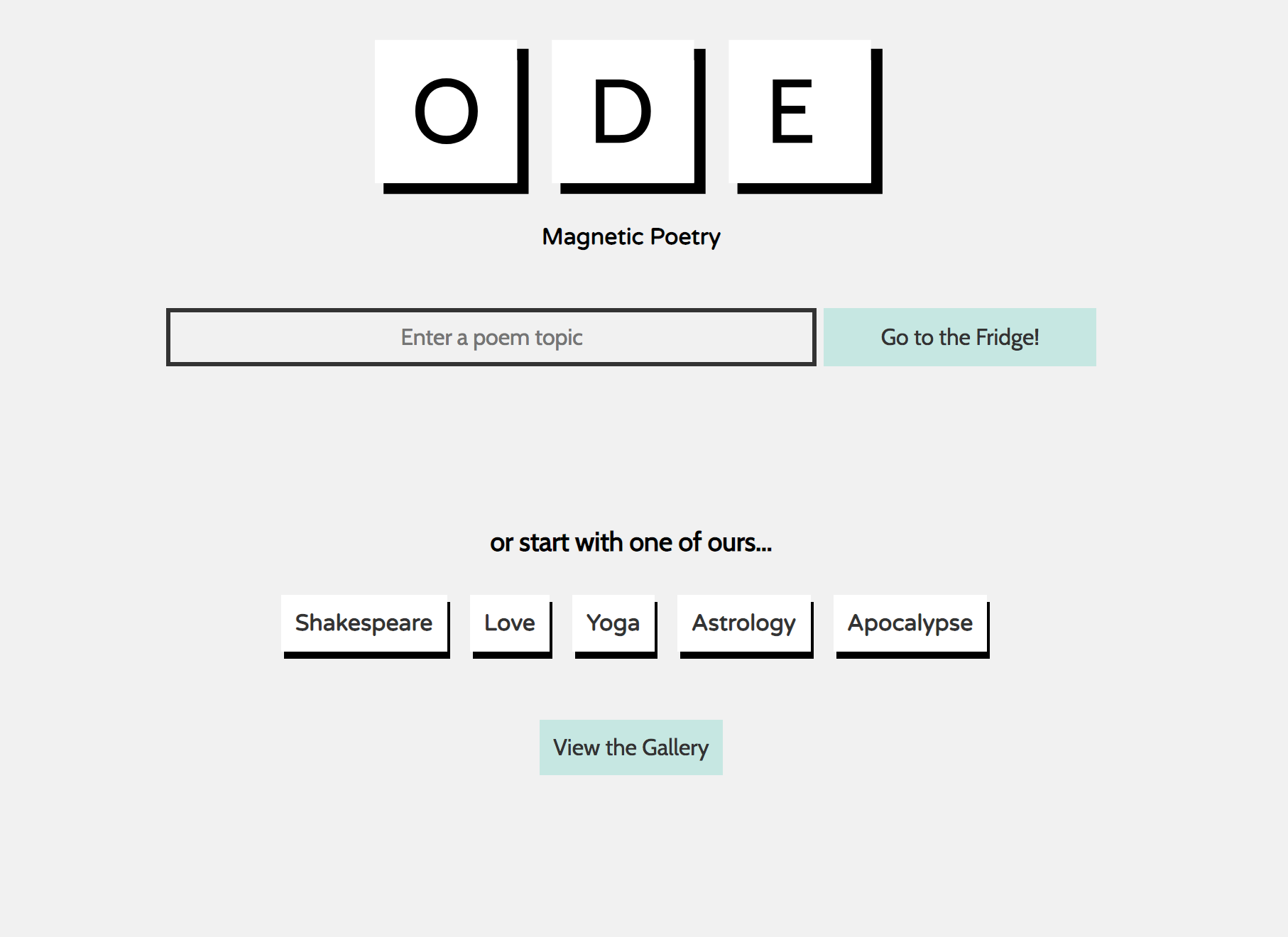 screenshot of ode poetry home page with a search bar and button that says Go to Fridge