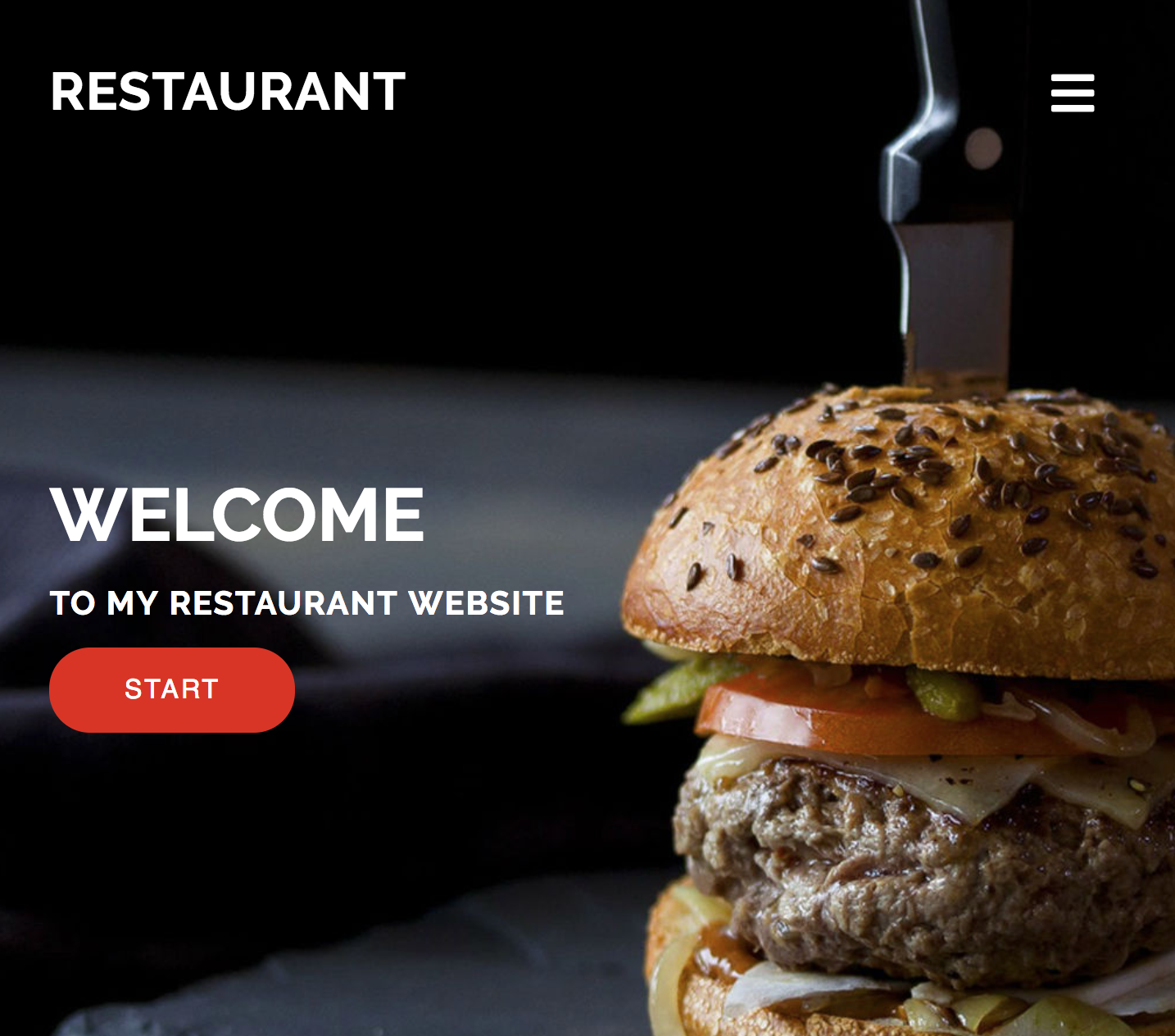 screenshot of website home page, with an image of a hamburger